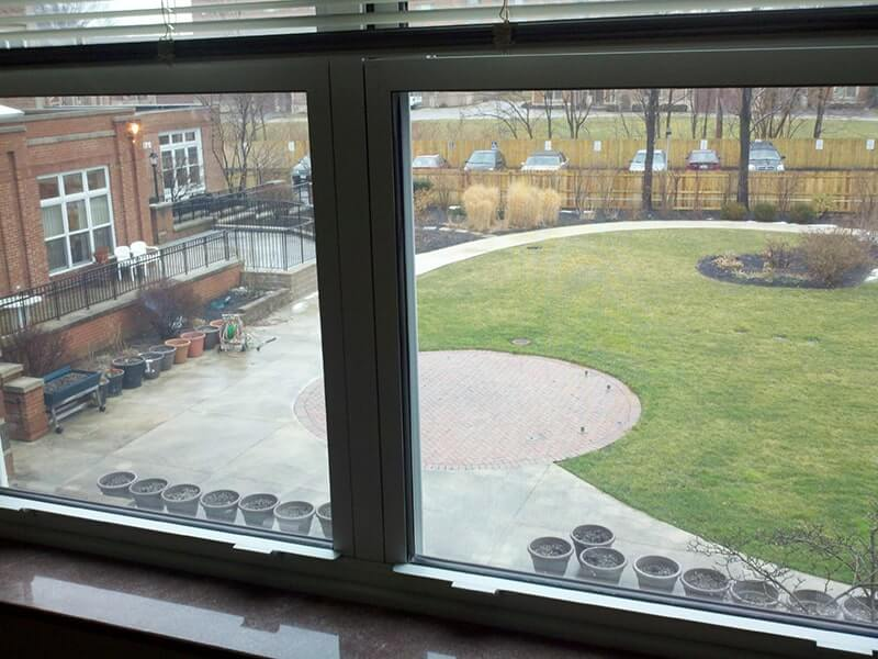 View of Margaret Wagner Apartments patio from window