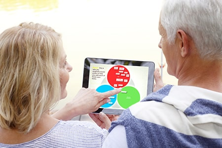 SHARE for Dementia family reviewing care tasks on iPad