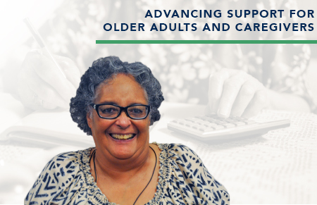 Donate-woman smiling-advancing support for older adults and caregivers